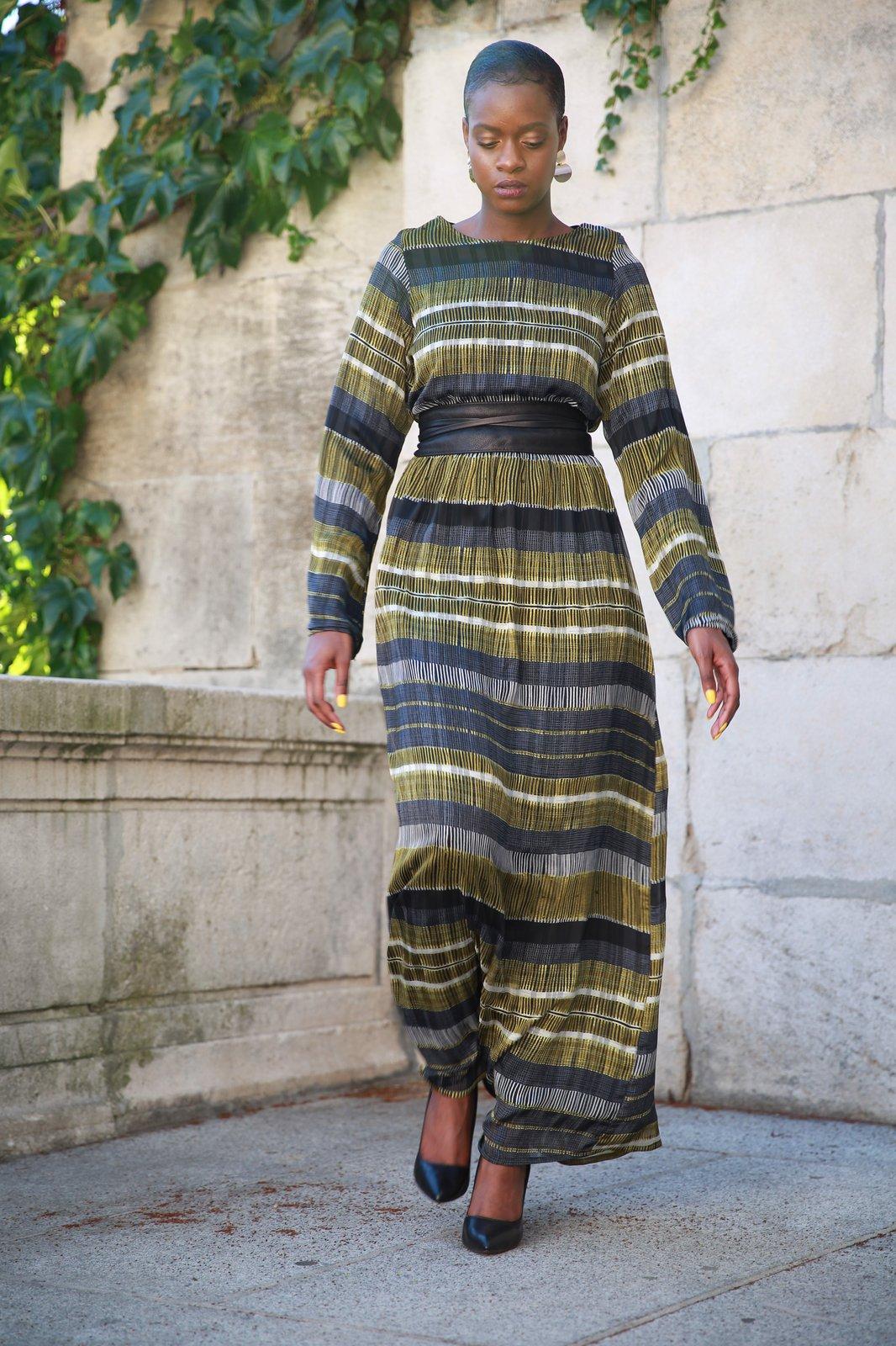 Robe Mousseline Gris Et Jaune Niyya Paris